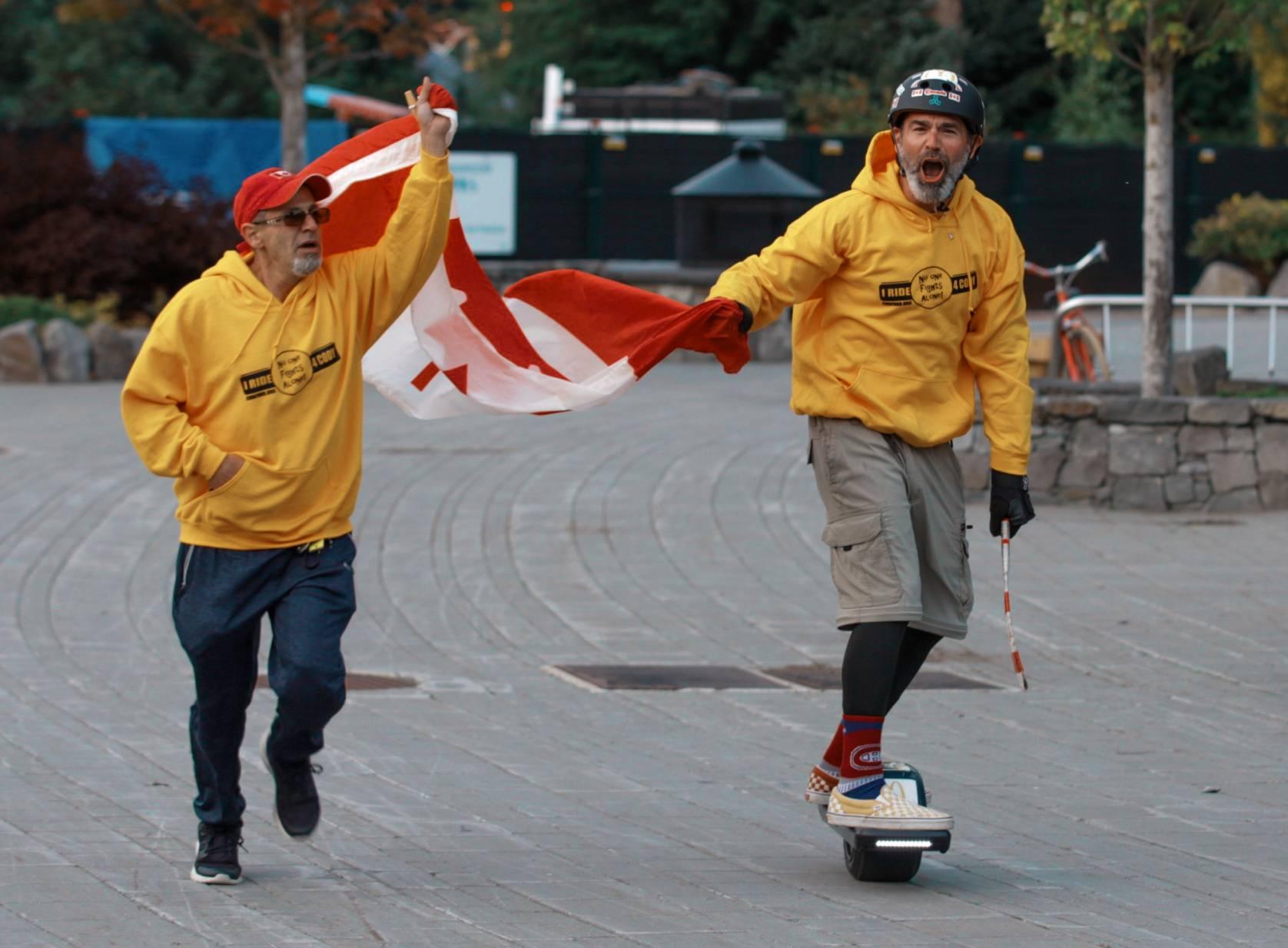 John Shrier onewheeling through Canada