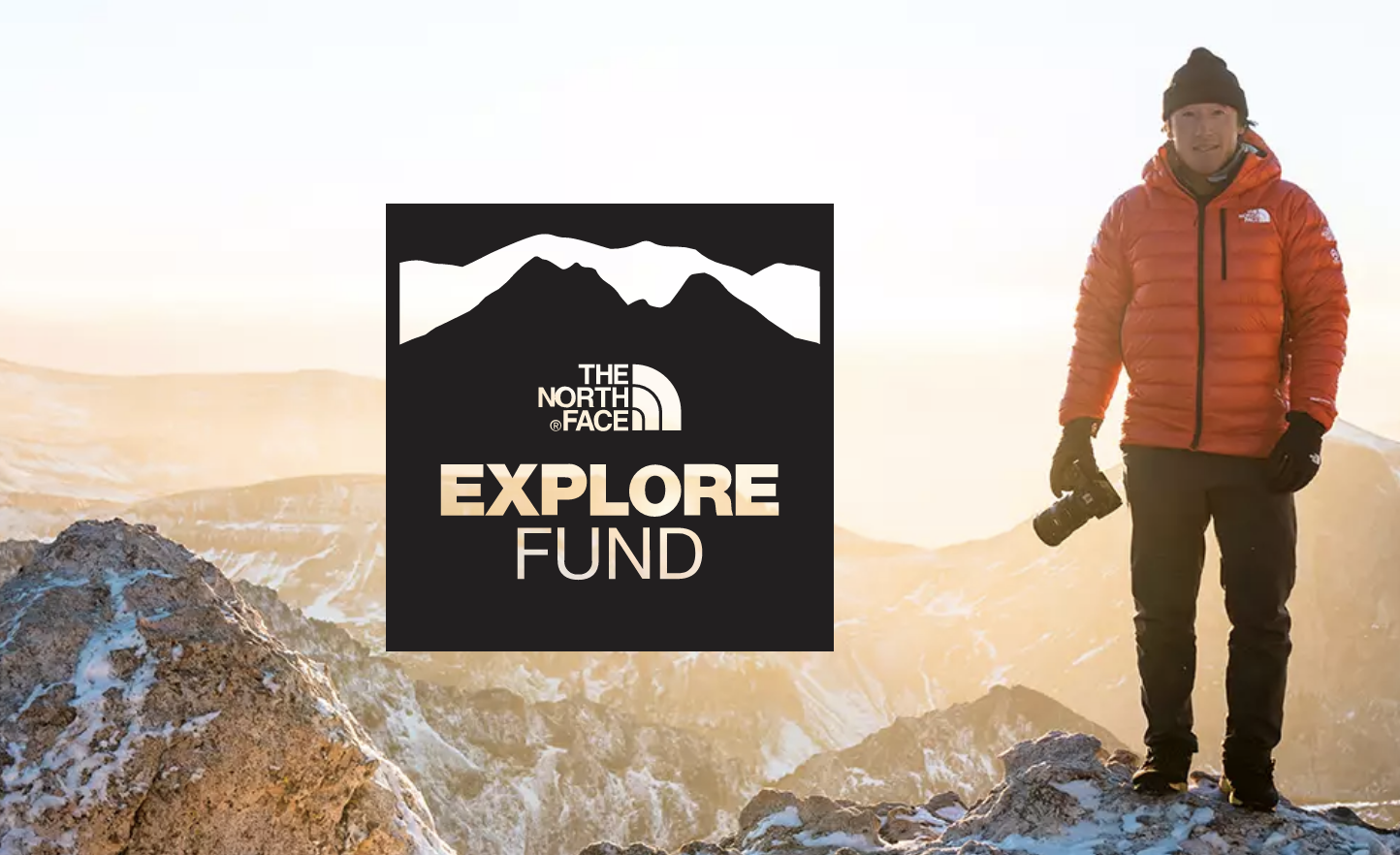 the north face explore fund logo with Jimmy Chin