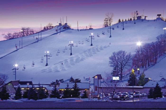 Buck Hill ski area at night Burnsville