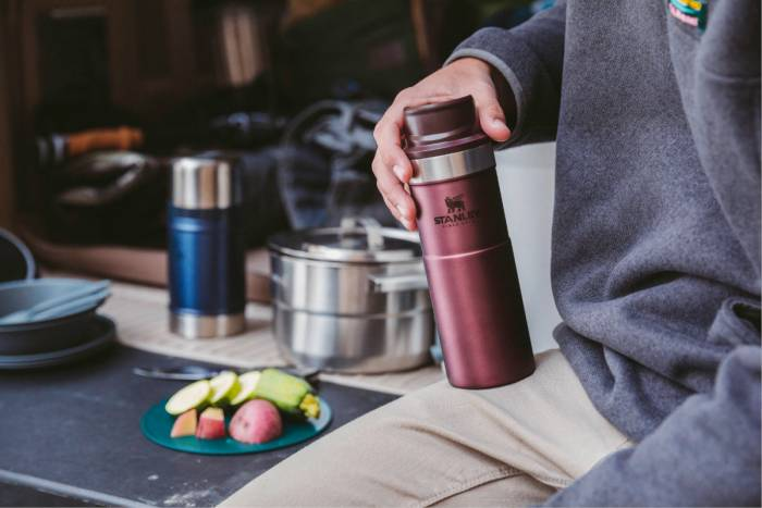 Stanley Trigger Action Travel Mug at camp