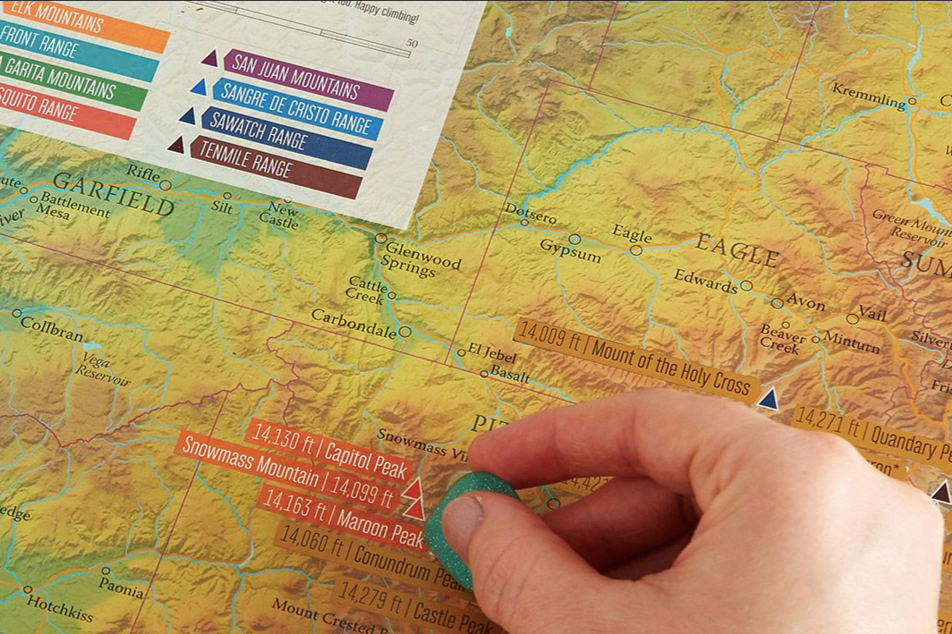 Scratch-Off Colorado 14ers Map