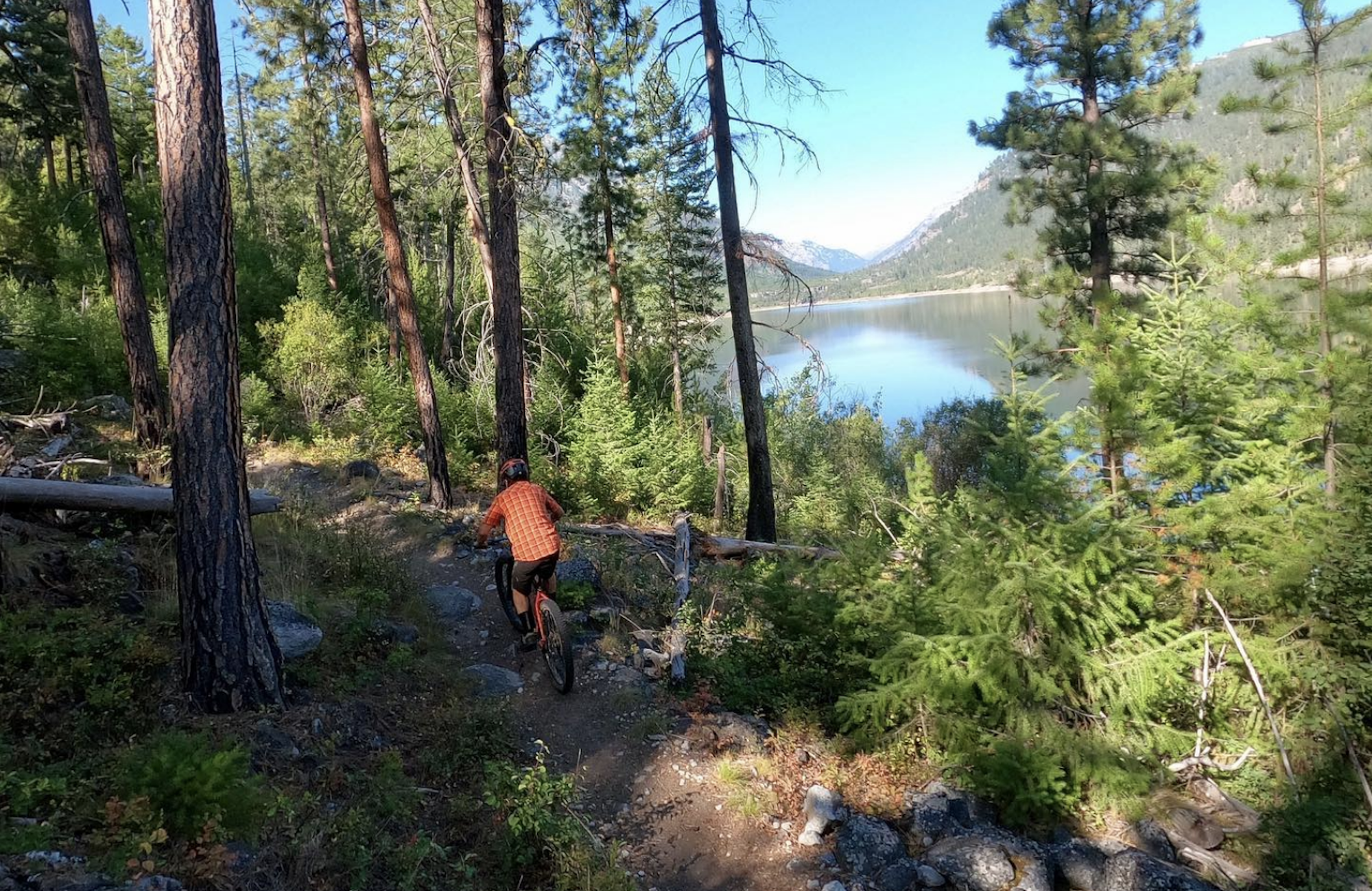 forested view of mountain biker in orange on the Bitterroot trail