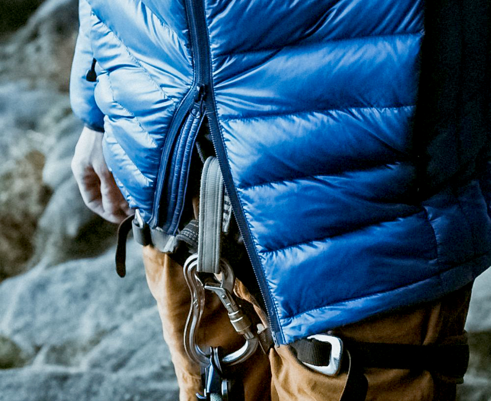 Dark Peak NESSH down jacket belay zipper