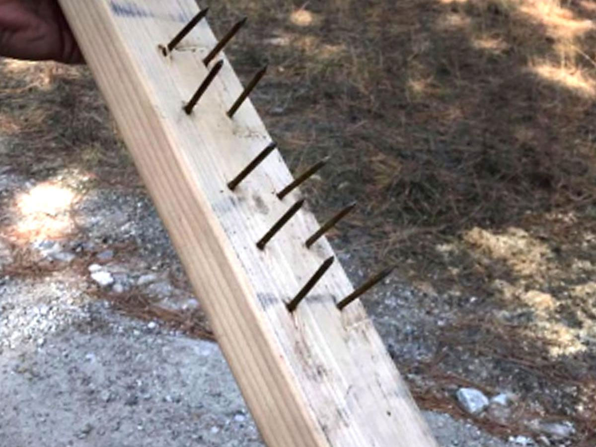 two-by-four board with nails sticking out