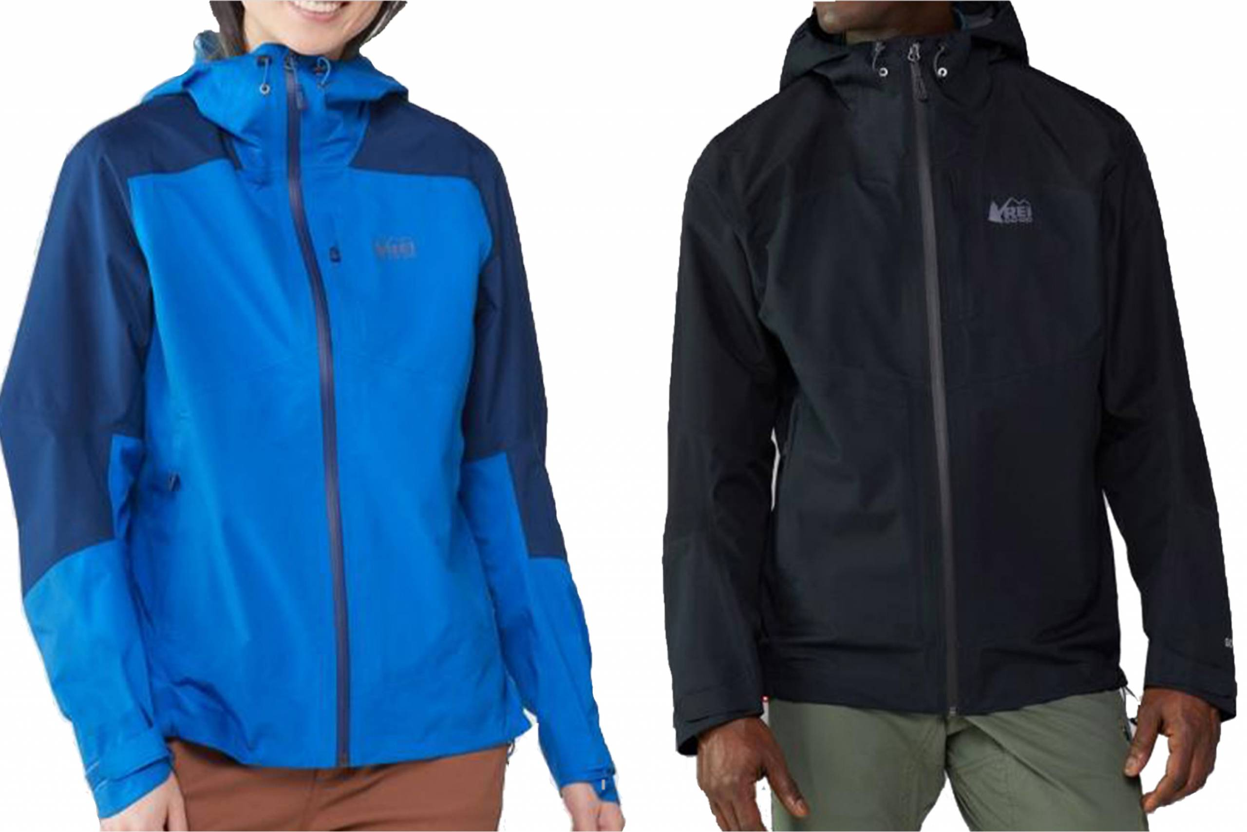 REI rain jackets on female and male models side by side