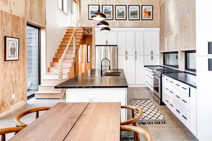Kitchen of wattage cottage off-grid cabin