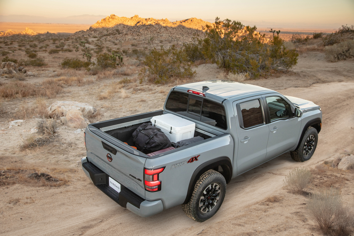 2022 Frontier off-road with gear in truck bed