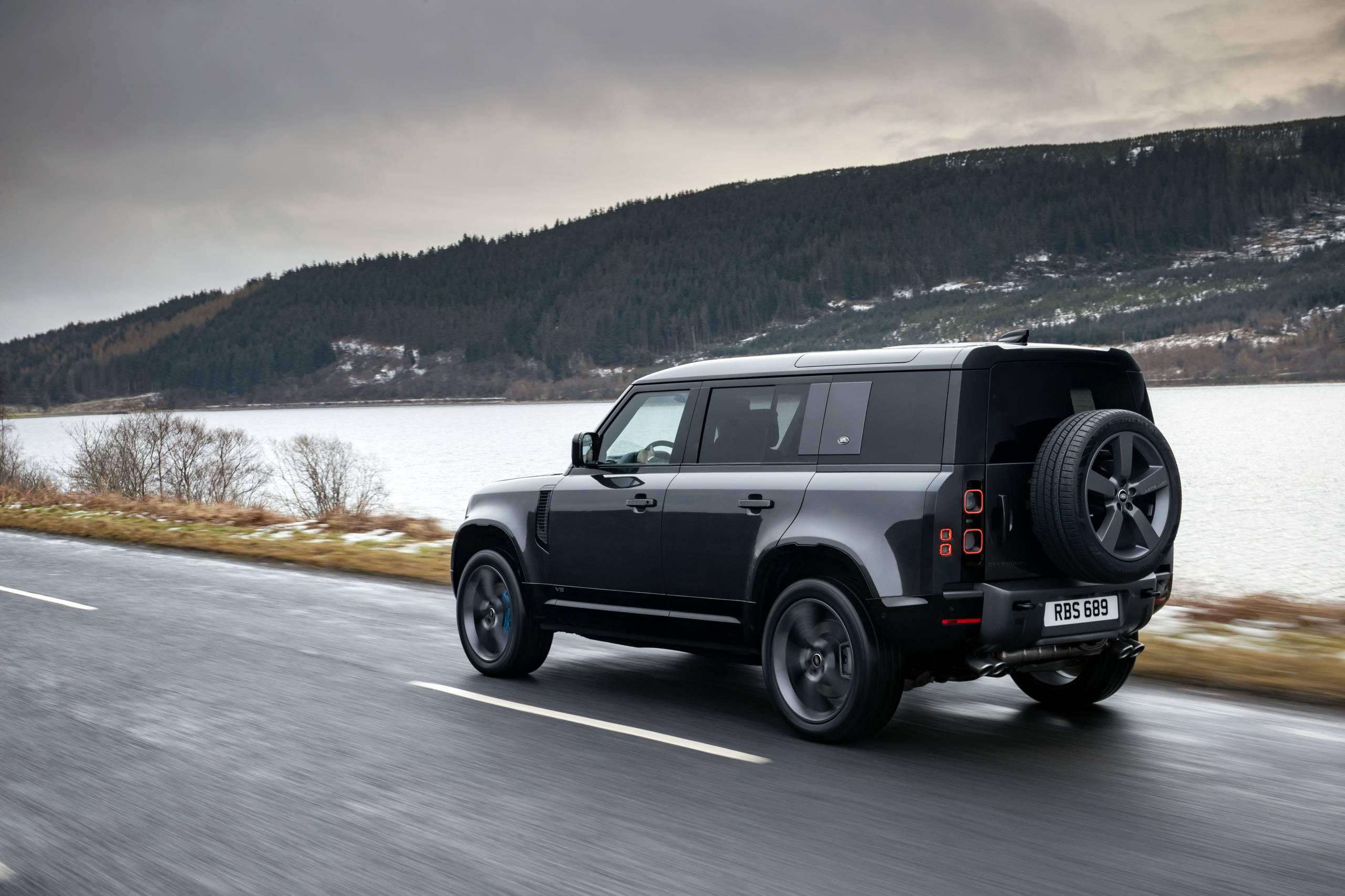 2022 Land Rover Defender 110 V8 on highway
