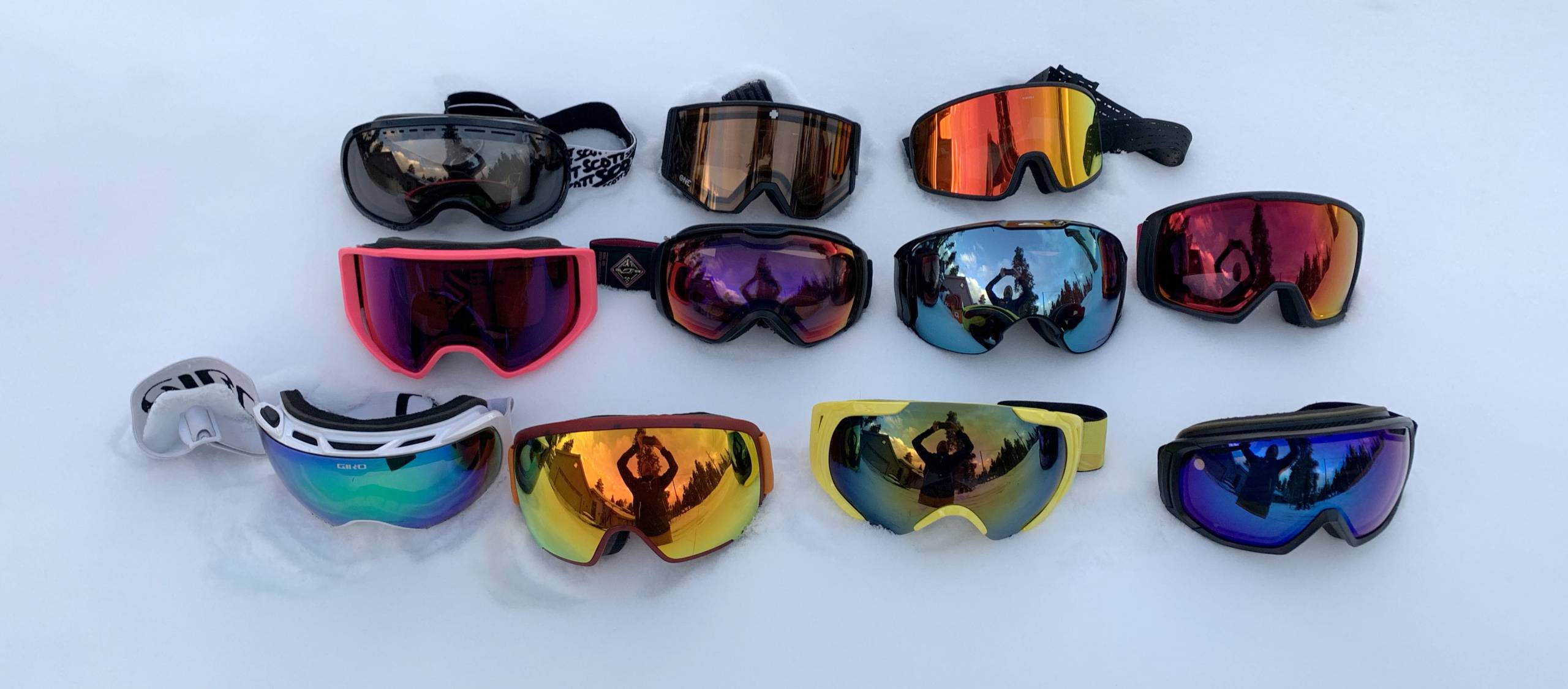 11 pairs of snow goggles