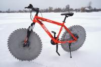 icecycle saw blade bike on ice