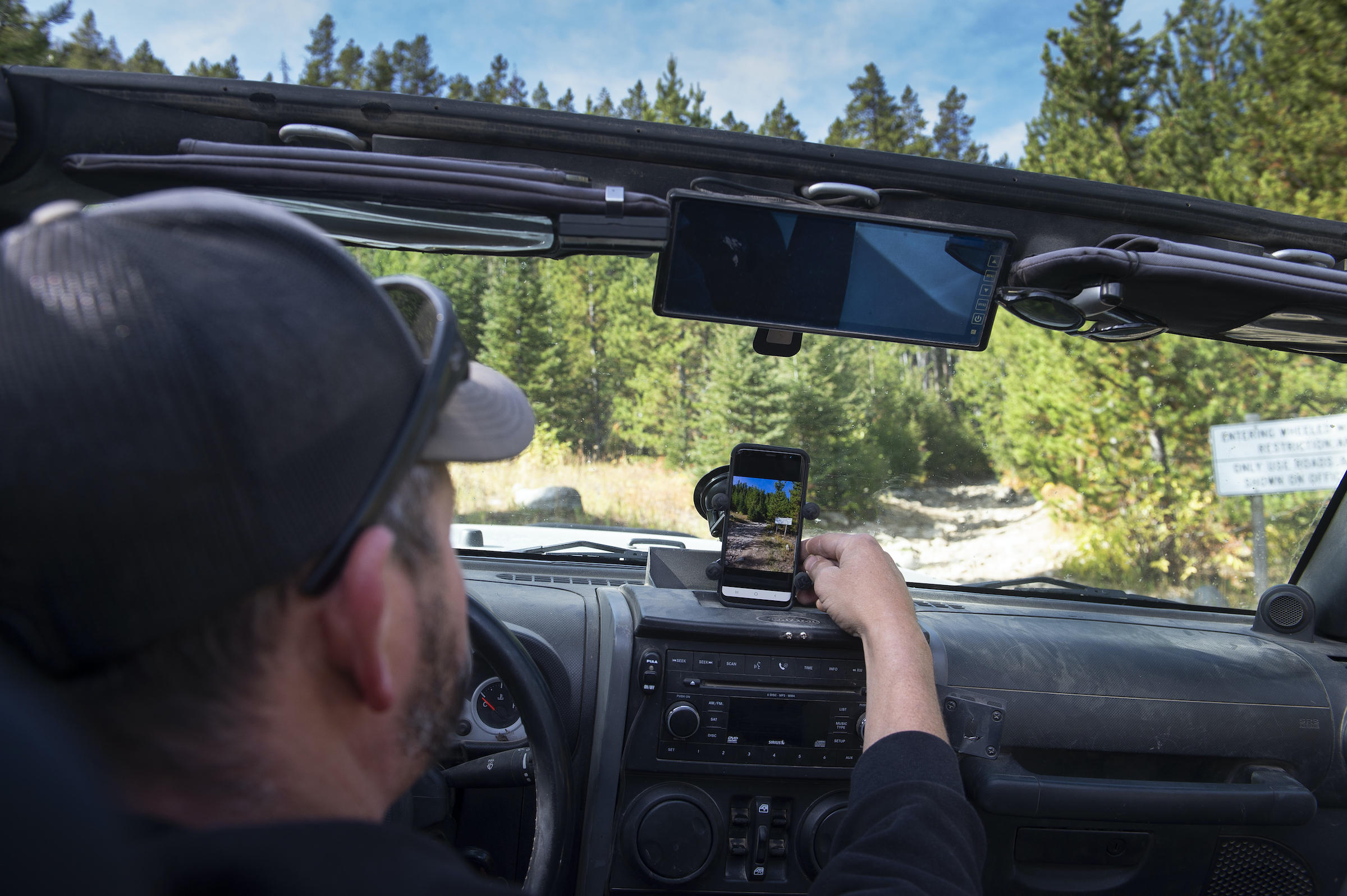 onX Offroad Trail Guide in a vehicle