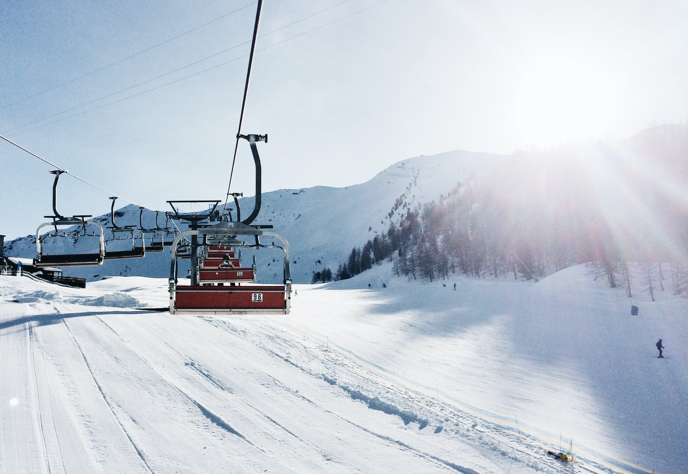 view of chairlift in Italian Alps