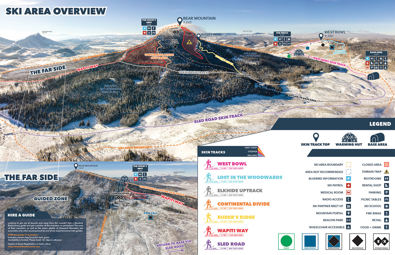 a image of bear mountain with Bluebird's map legend showing the different bowls and terrain