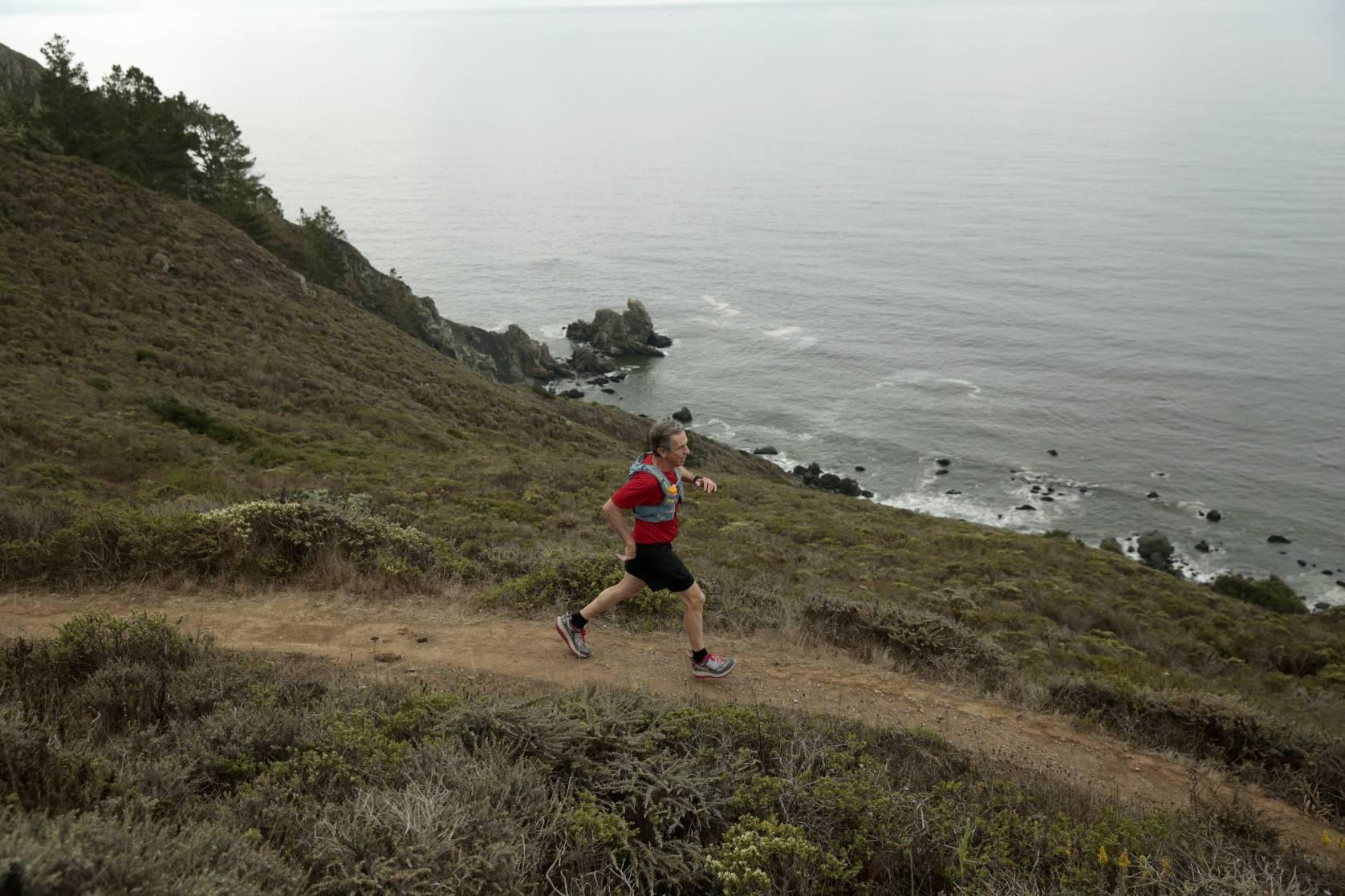 Ultramarathon runner Eric Spector trains on Muir Beach, California