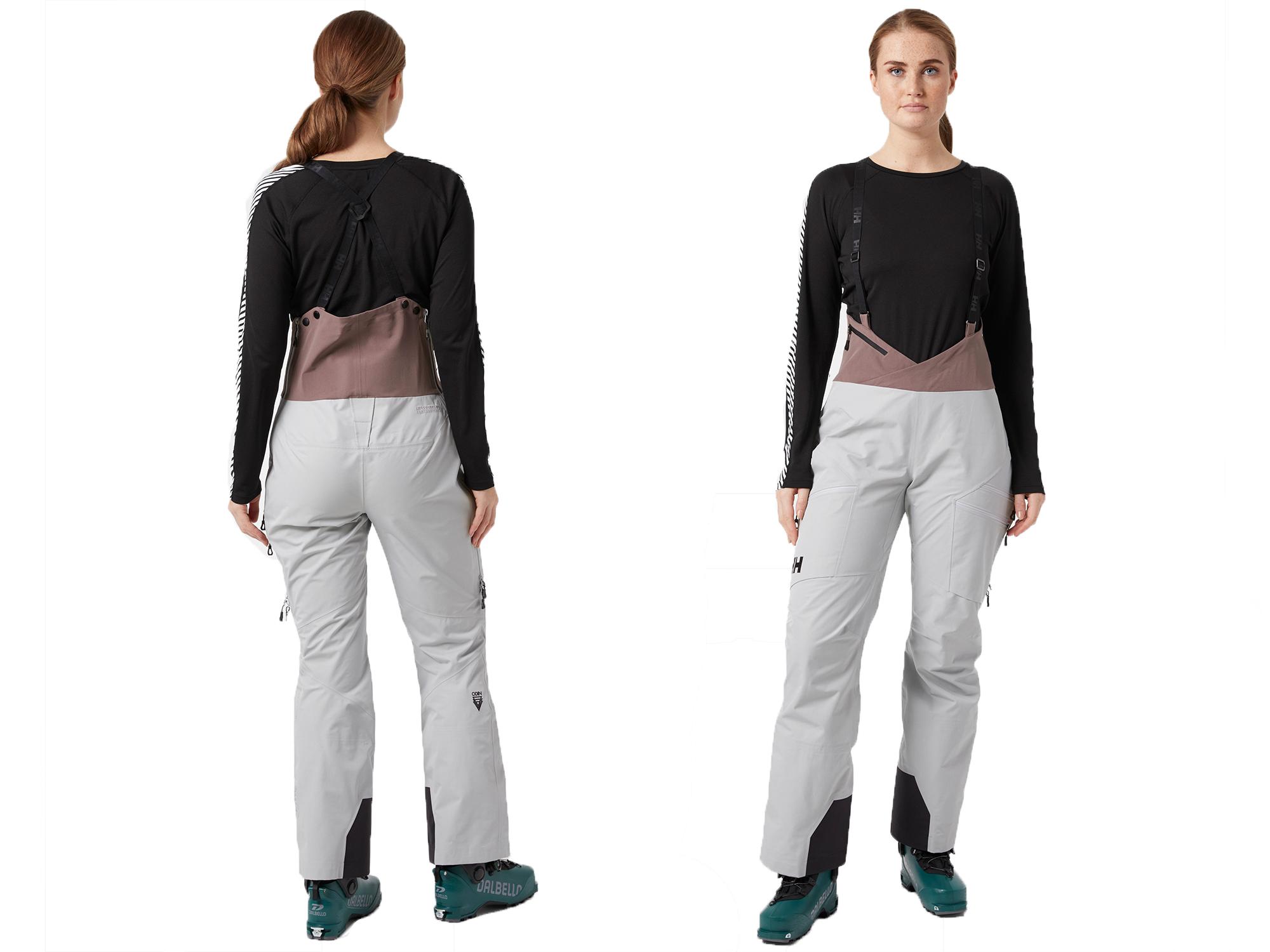 Vorder- und Rückansicht des weiblichen Modells im Pferdeschwanz, der Helly Hansen Hosenlätzchen trägt