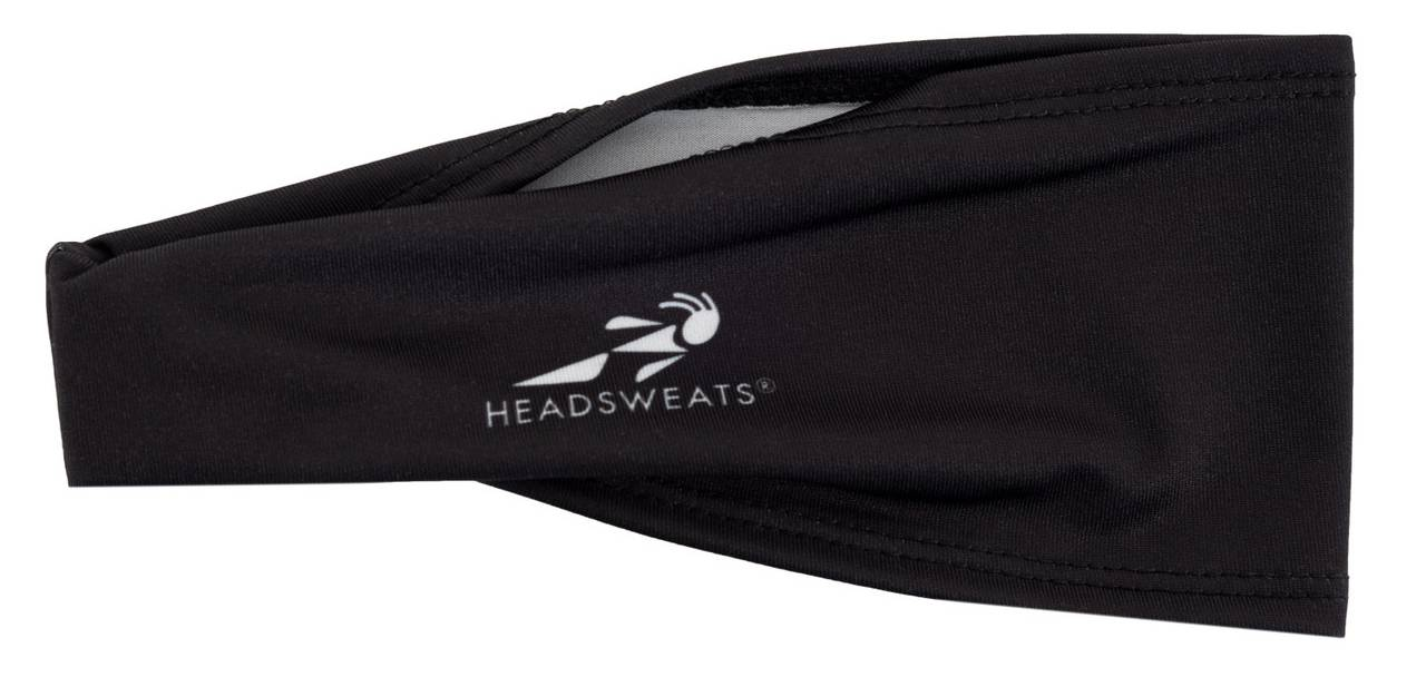 Headsweats Boulder Band headband shown in black against white background
