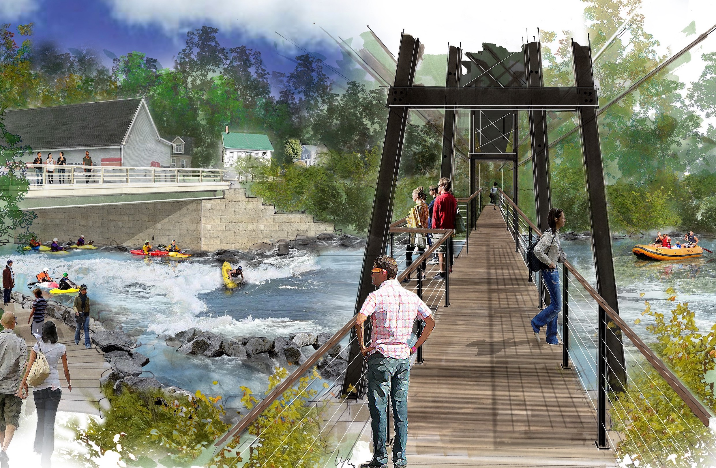 a color sketch and rendering of a whitewater park on a river with a boardwalk bridge and people