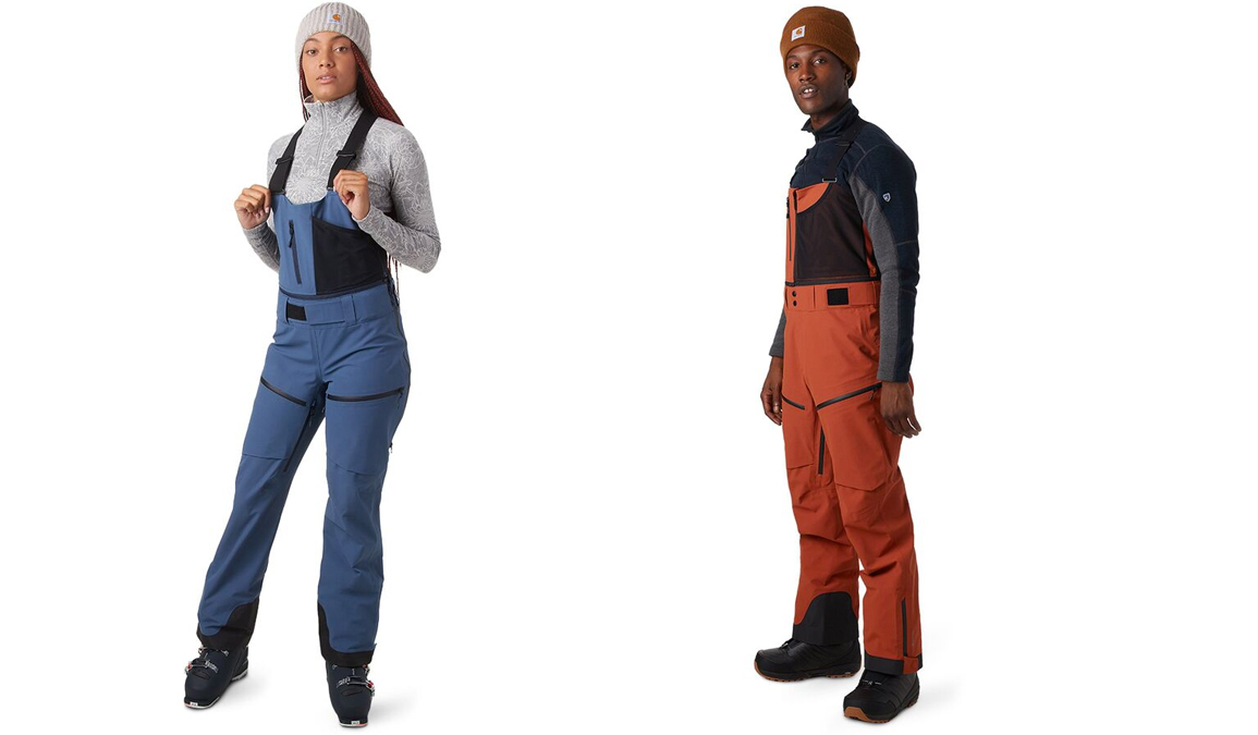 female and male models in beanies and backcountry cottonwoods bibs