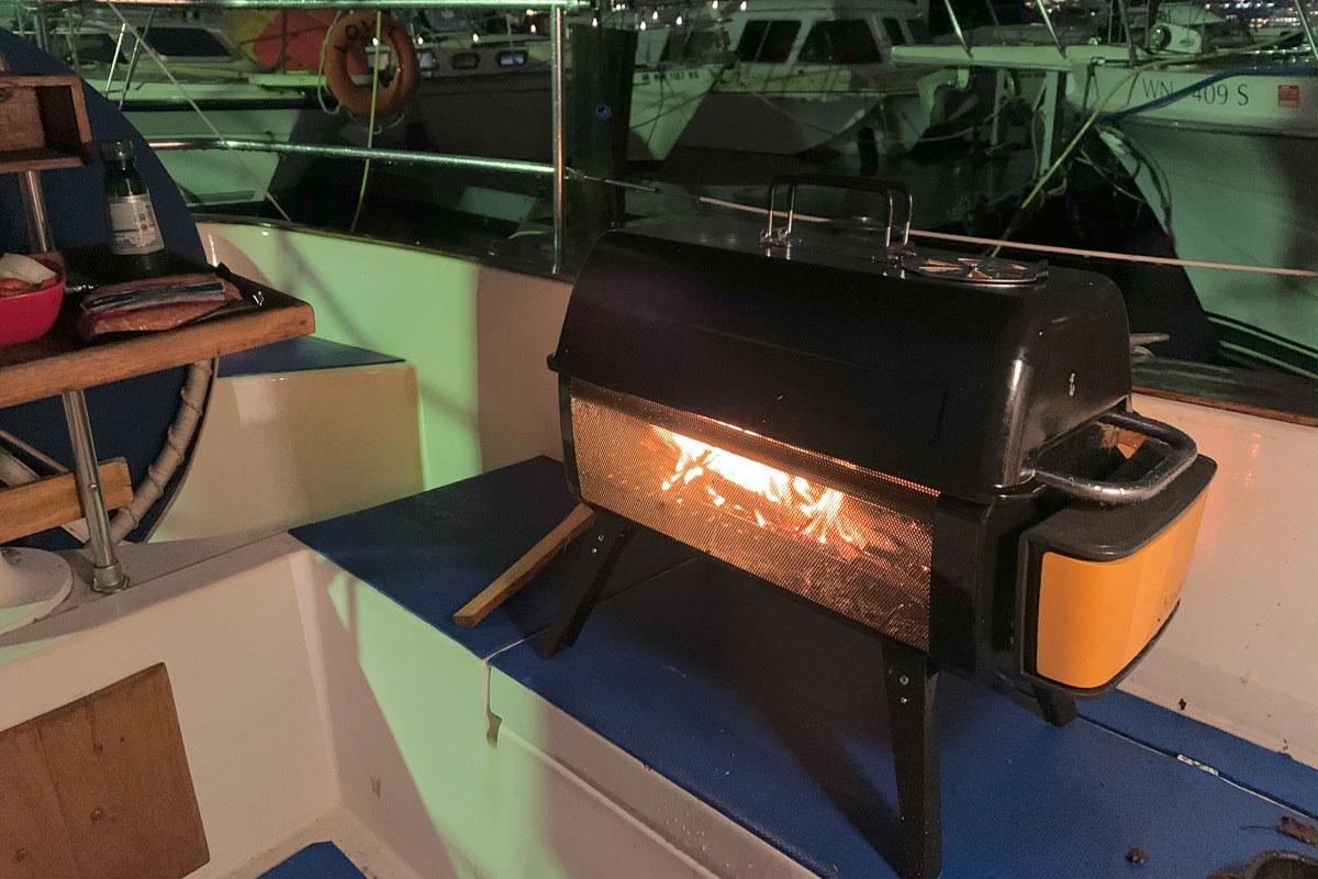 biolite firepit+ on a boat