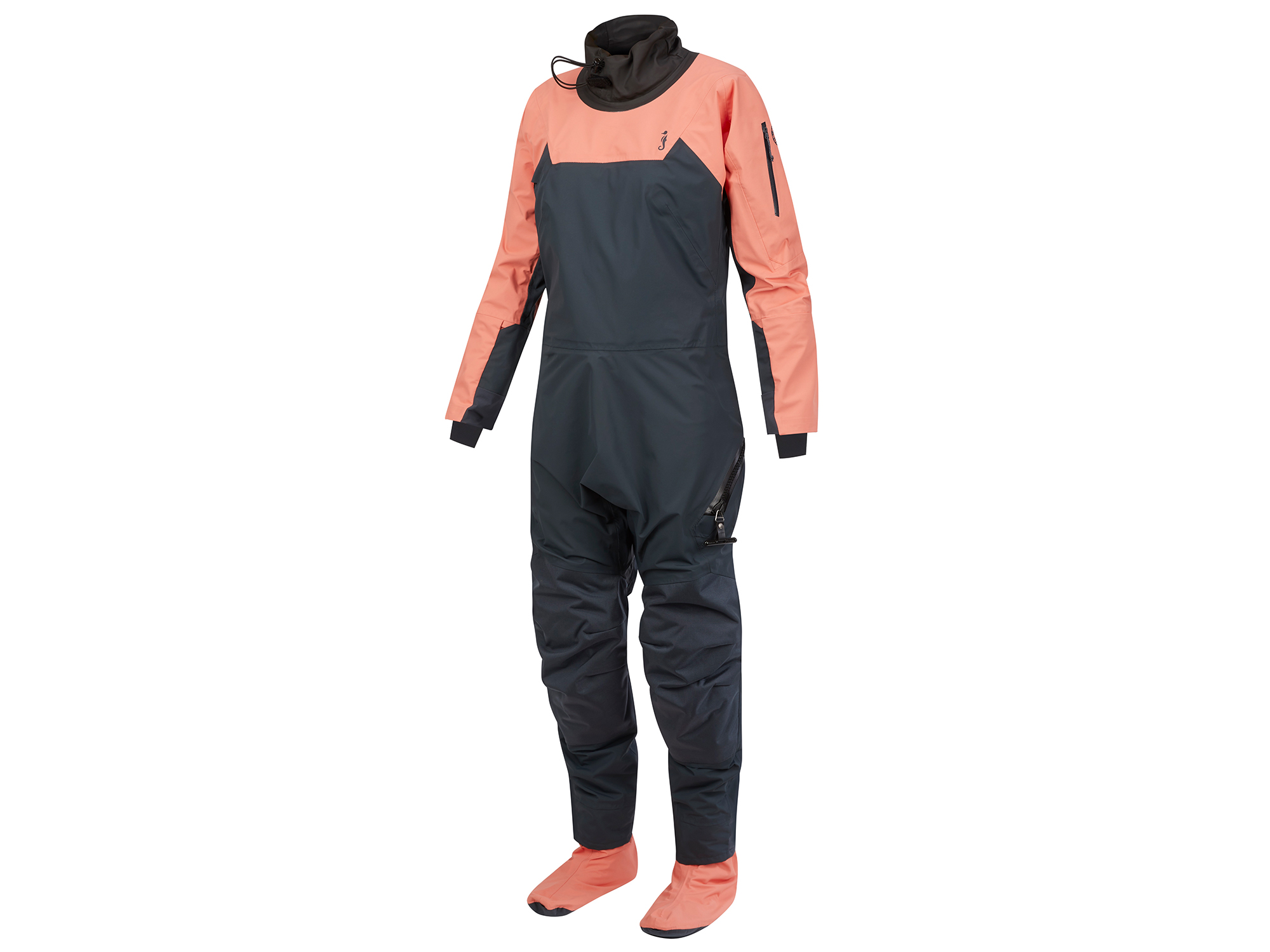 Mustang Survival women's Helix Dry Suit in dark gray/coral