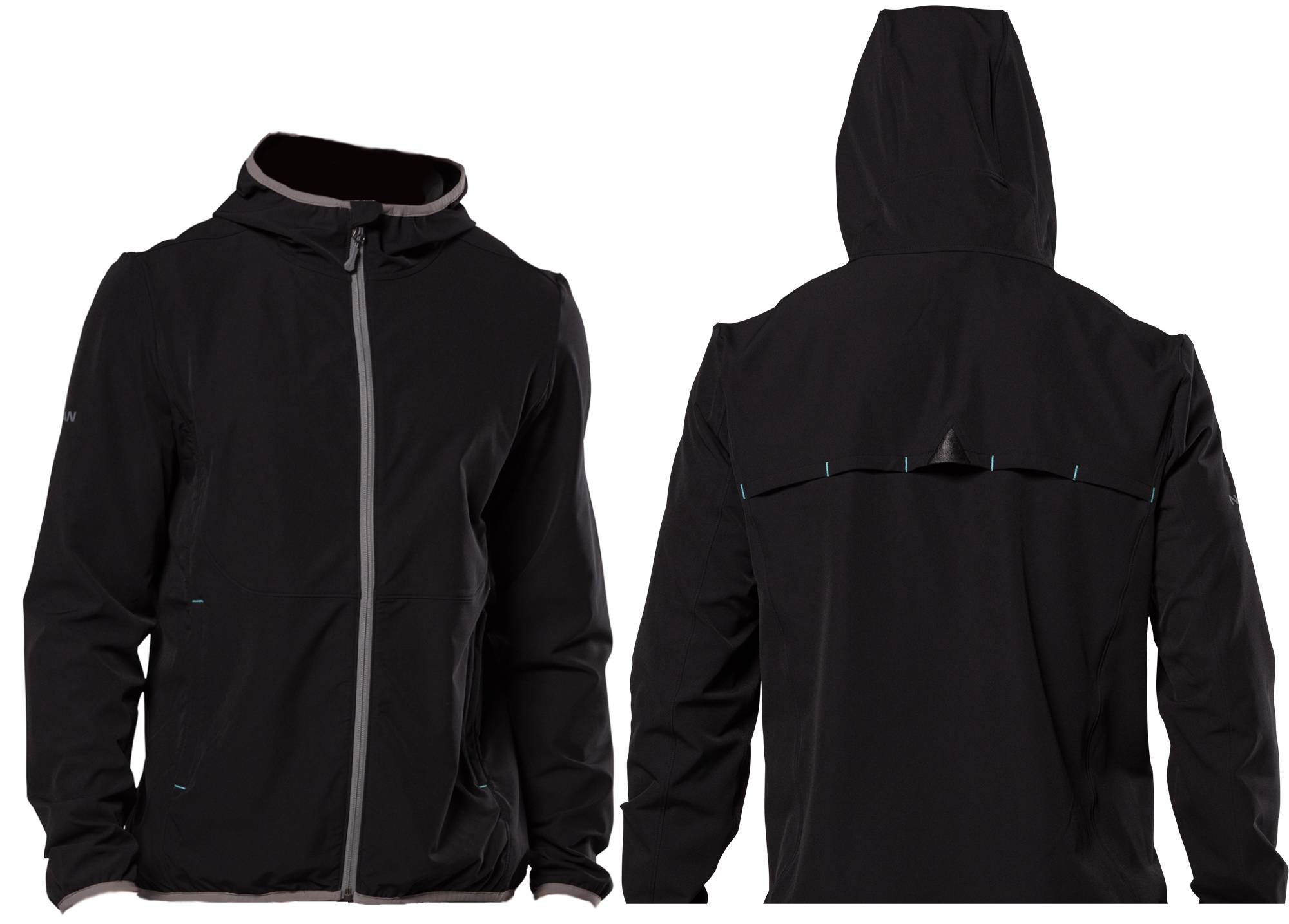 Nathan men's tour jacket front and back with hood in black against white background