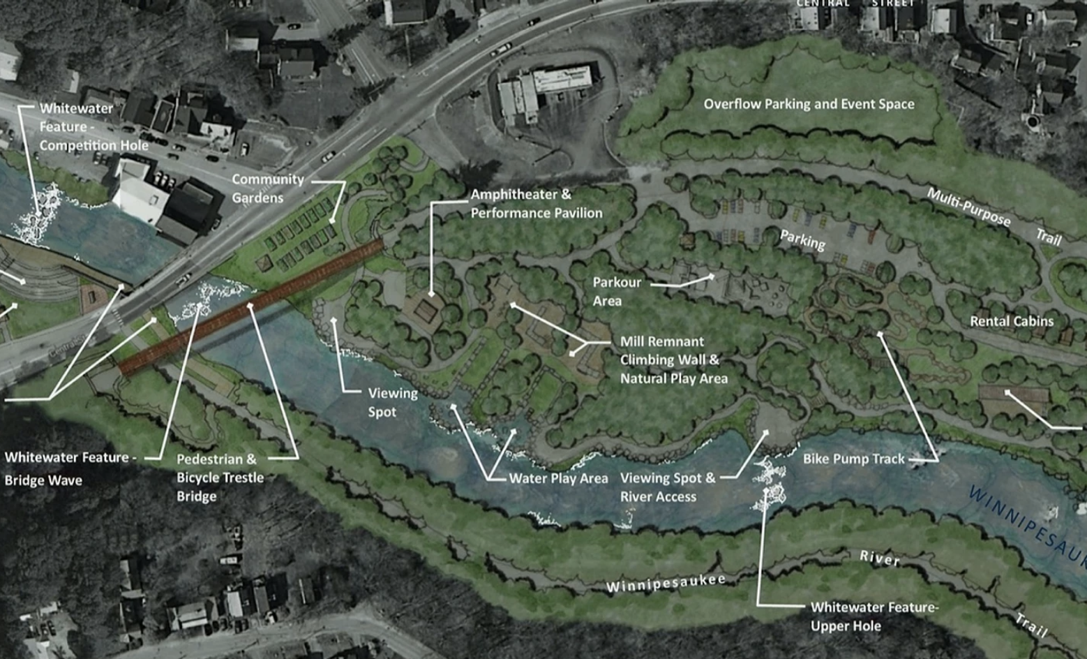 bird's eye view of master plan of Mill City Park features