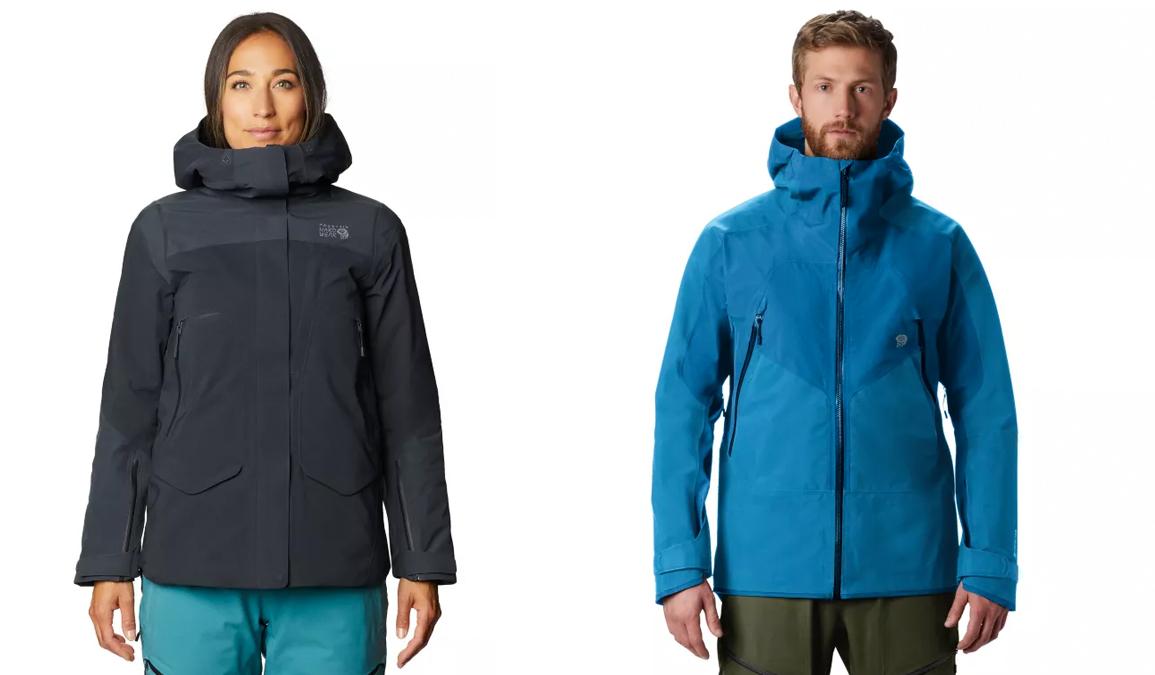 female and male models wearing mountain hardwear boundary ridge ski jackets