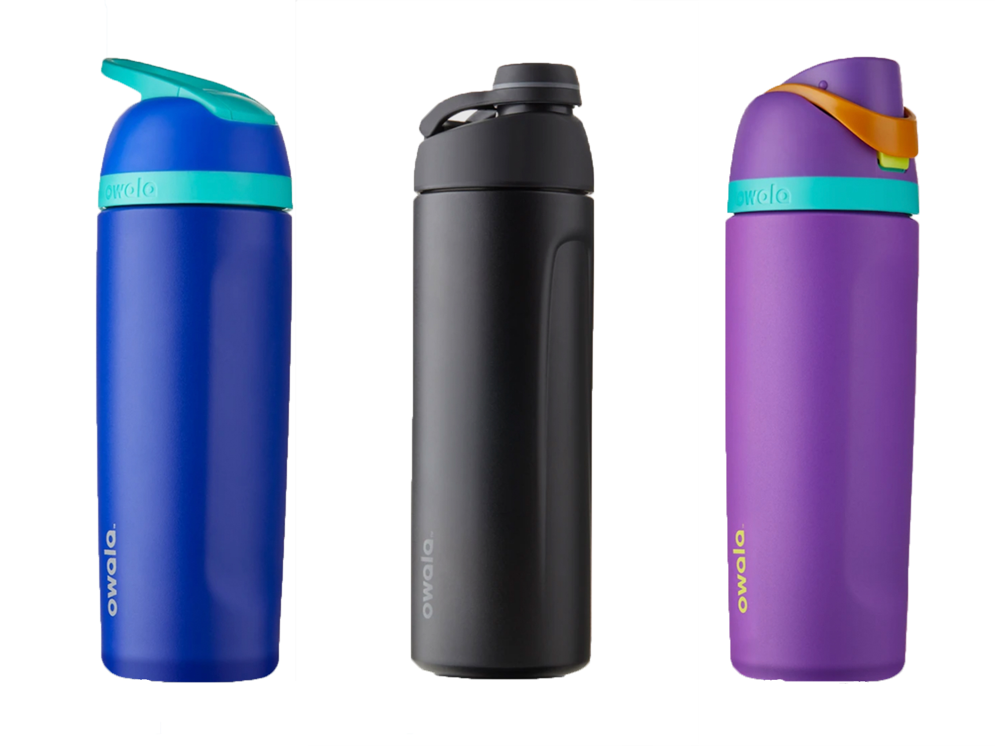 Owala water bottles in three colors and cap styles against white background