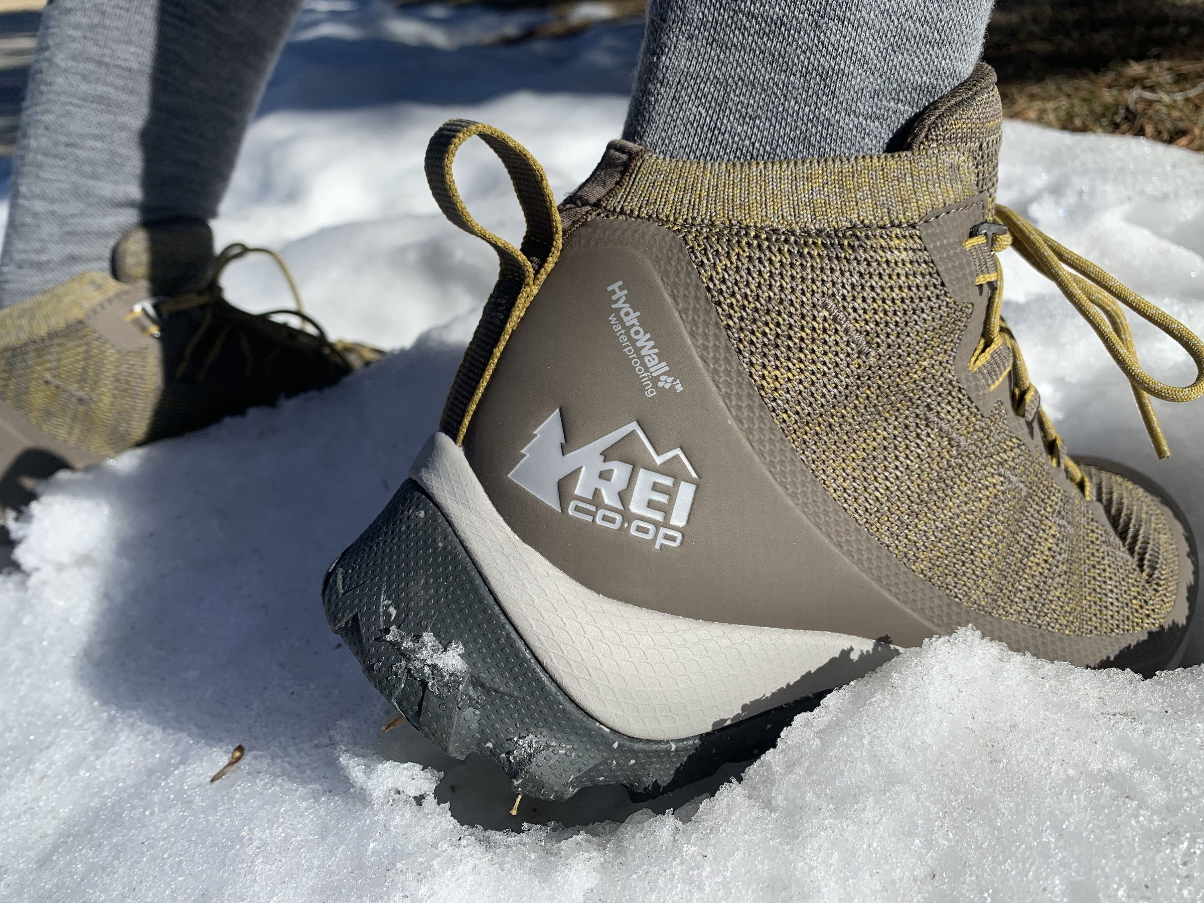 close-up of HydroWall logo on back heel of REI Flash boot