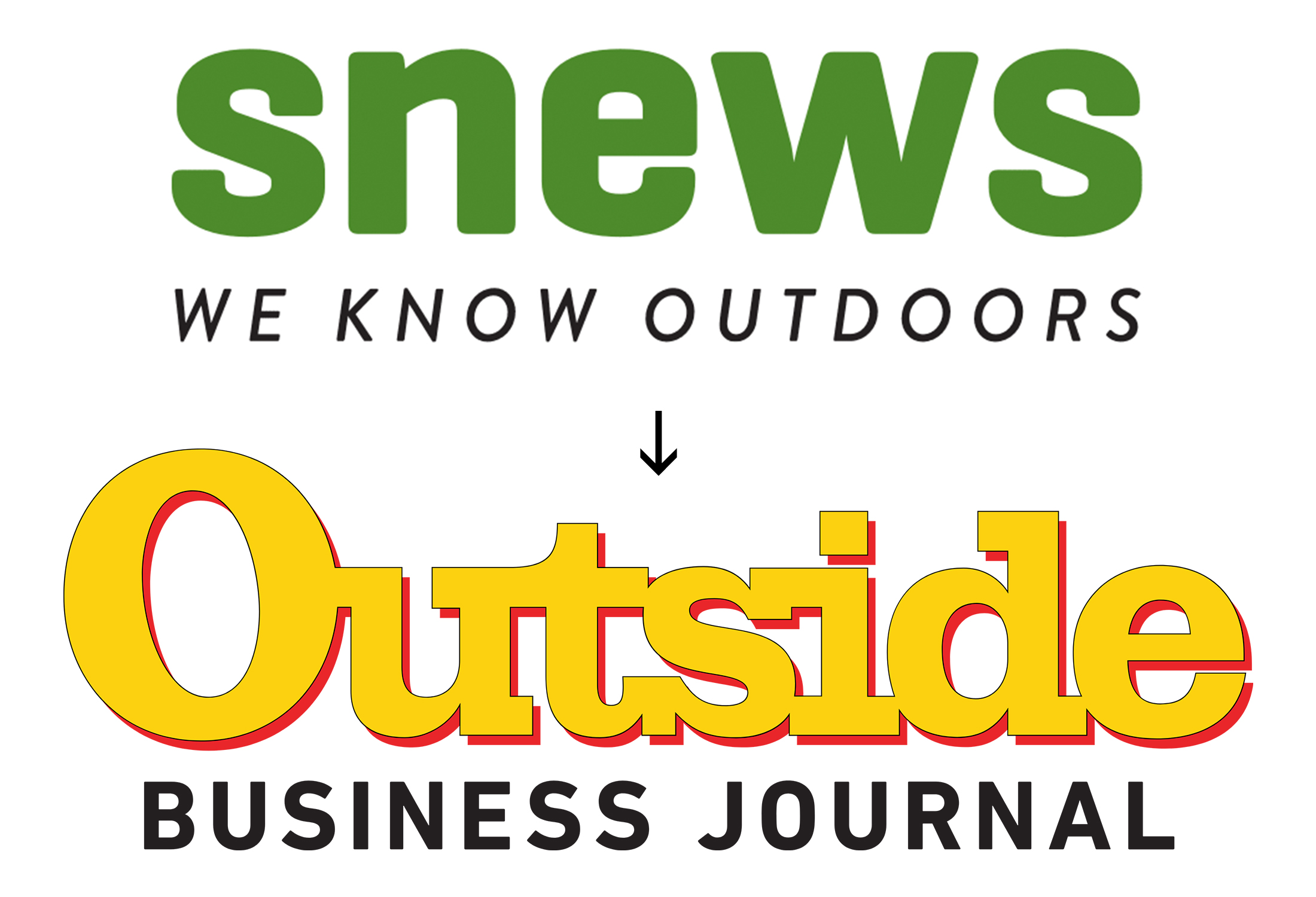 """green text that reads """"snews"""" in lowercase and yellow text in a serifed font that reads """"Outside,"""" with business journal beneath"""