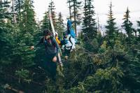 skiers bushwhacking through pacific northwest forest with skis in A-frame setup on packs