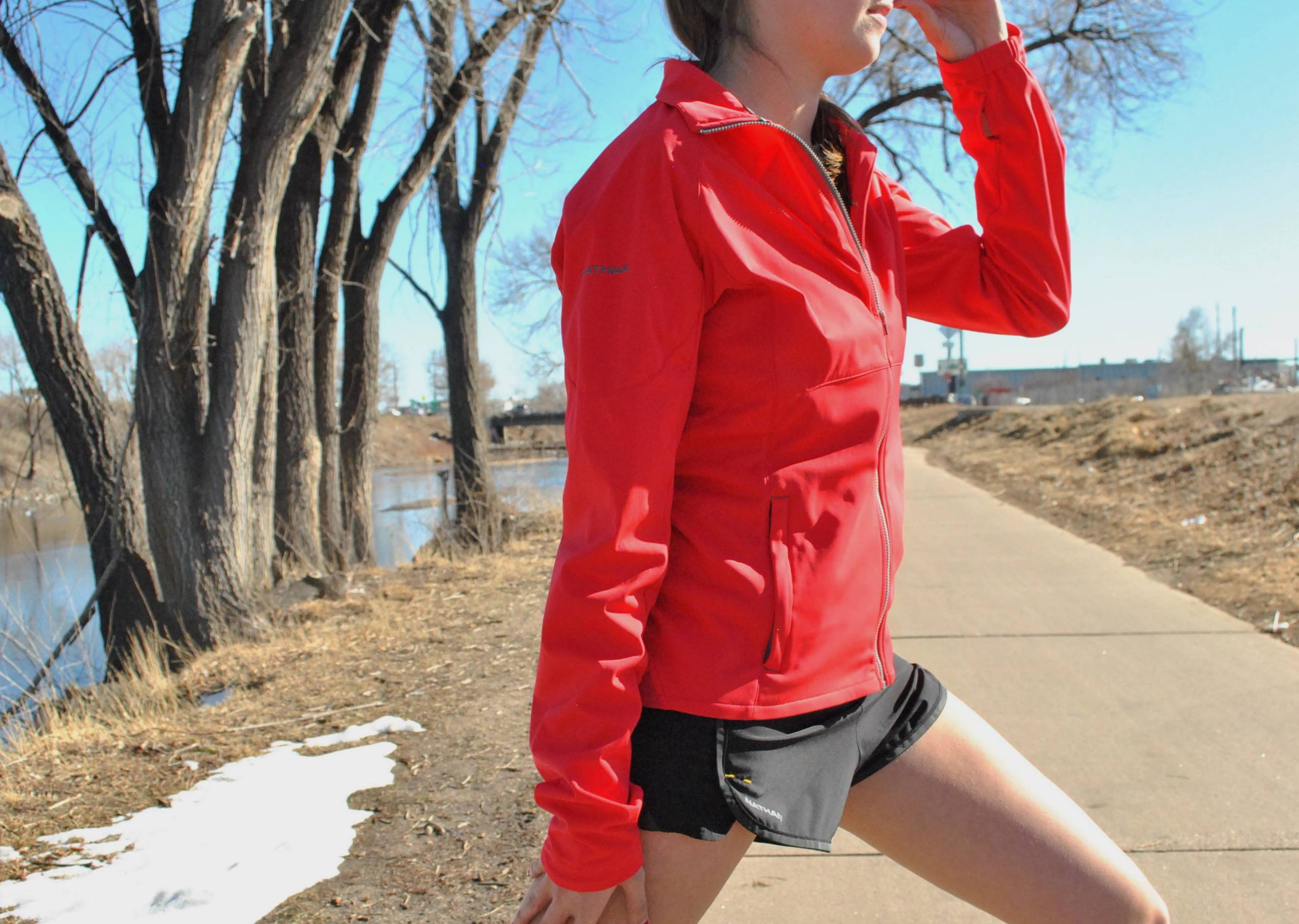author in the Nathan Traverse jacket in red