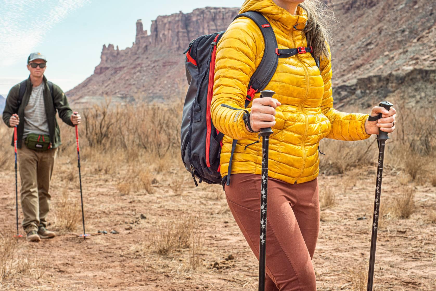Testing trekking poles while hiking near Moab.