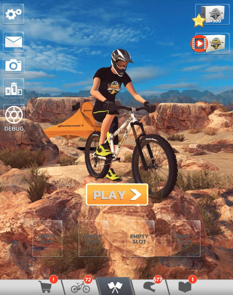 virtual MTB rider on a rocky trail in the app game