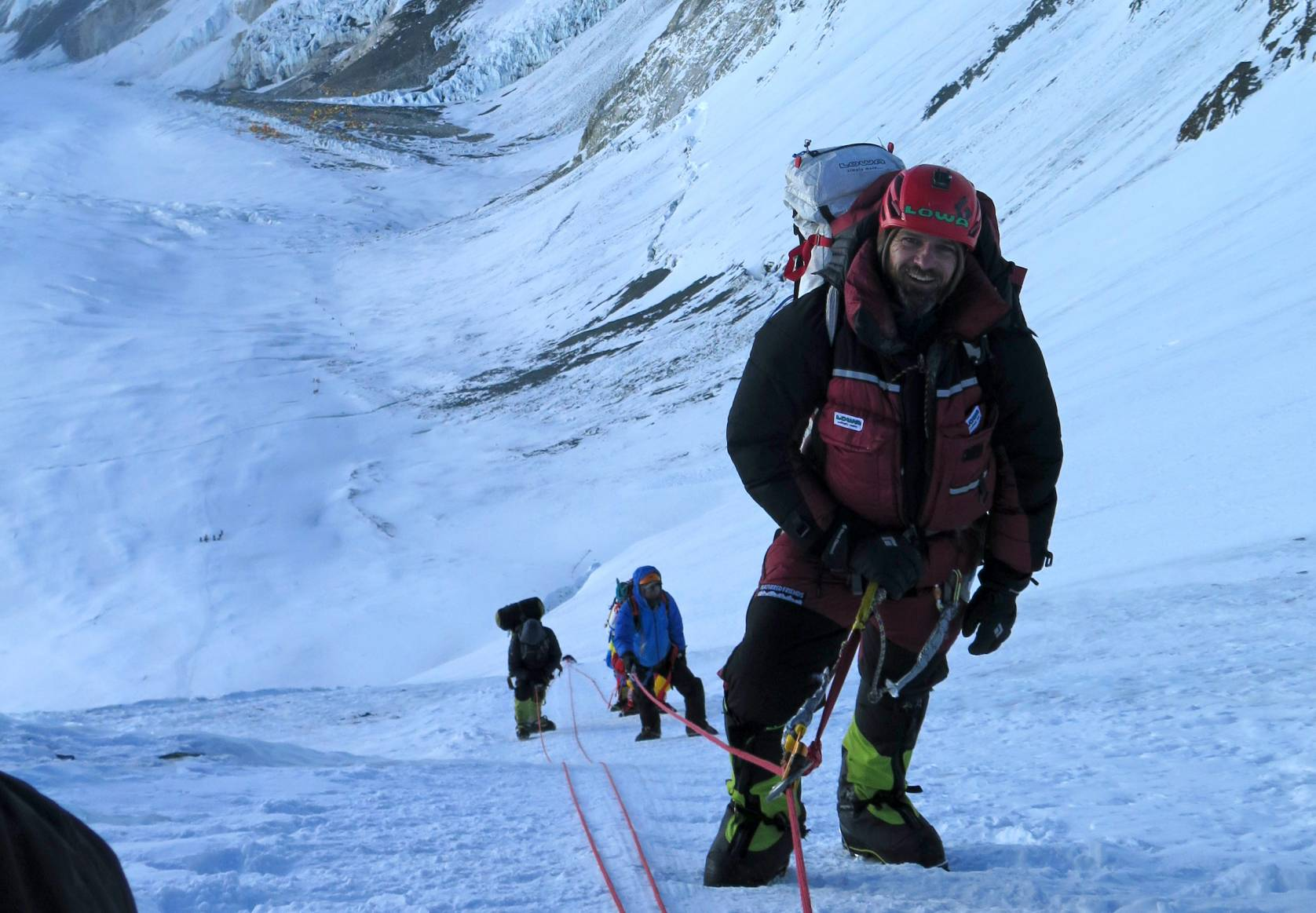 Jim Davidson in Lowa boots and helmet at 23,500 feet up on Everest