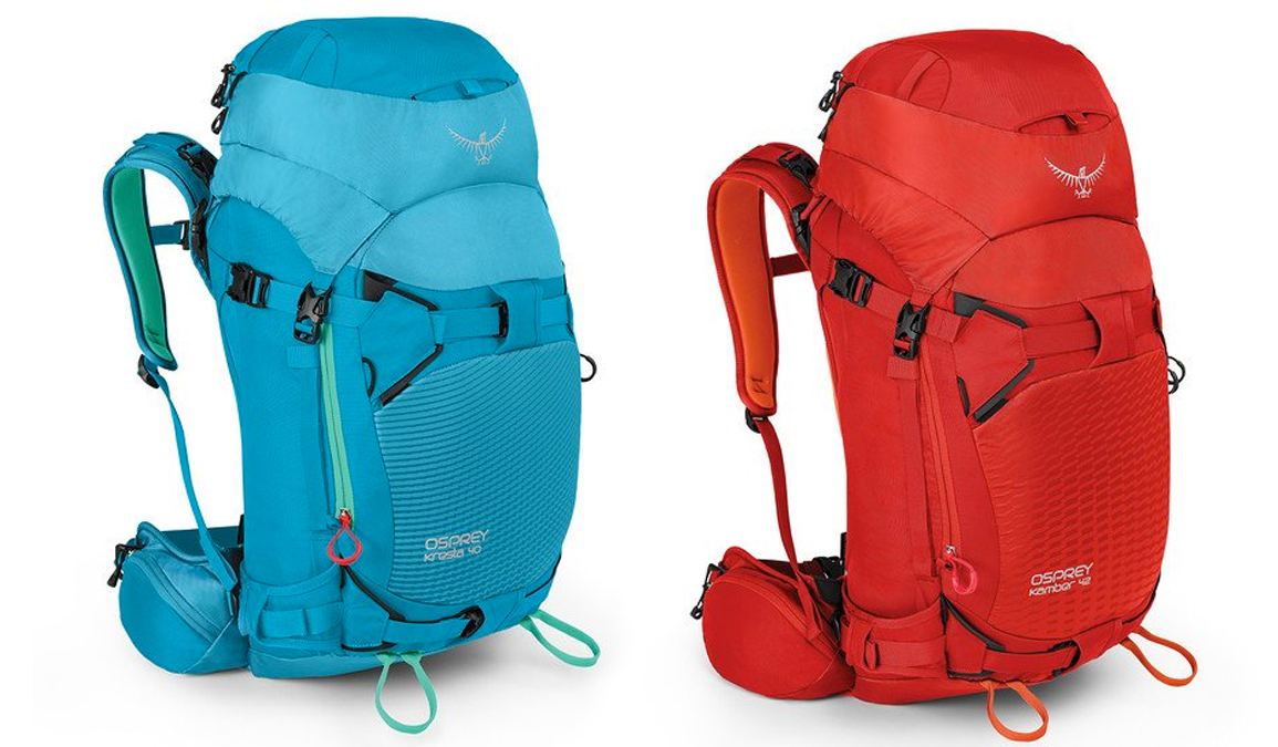 Osprey Kresta and Kamber ski backpack