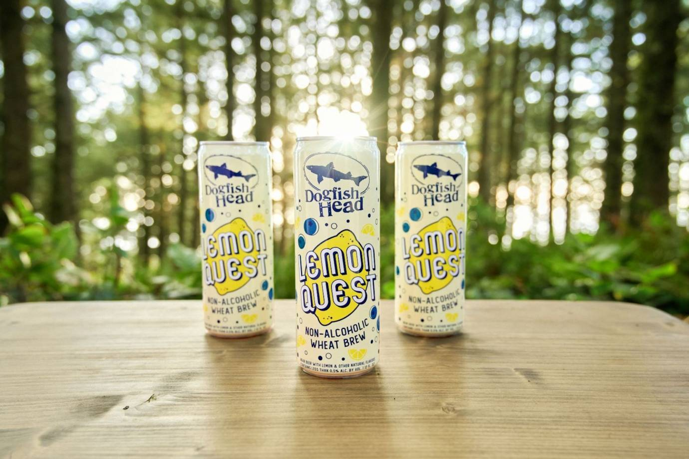 Lemon Quest Beer Cans in the outdoors