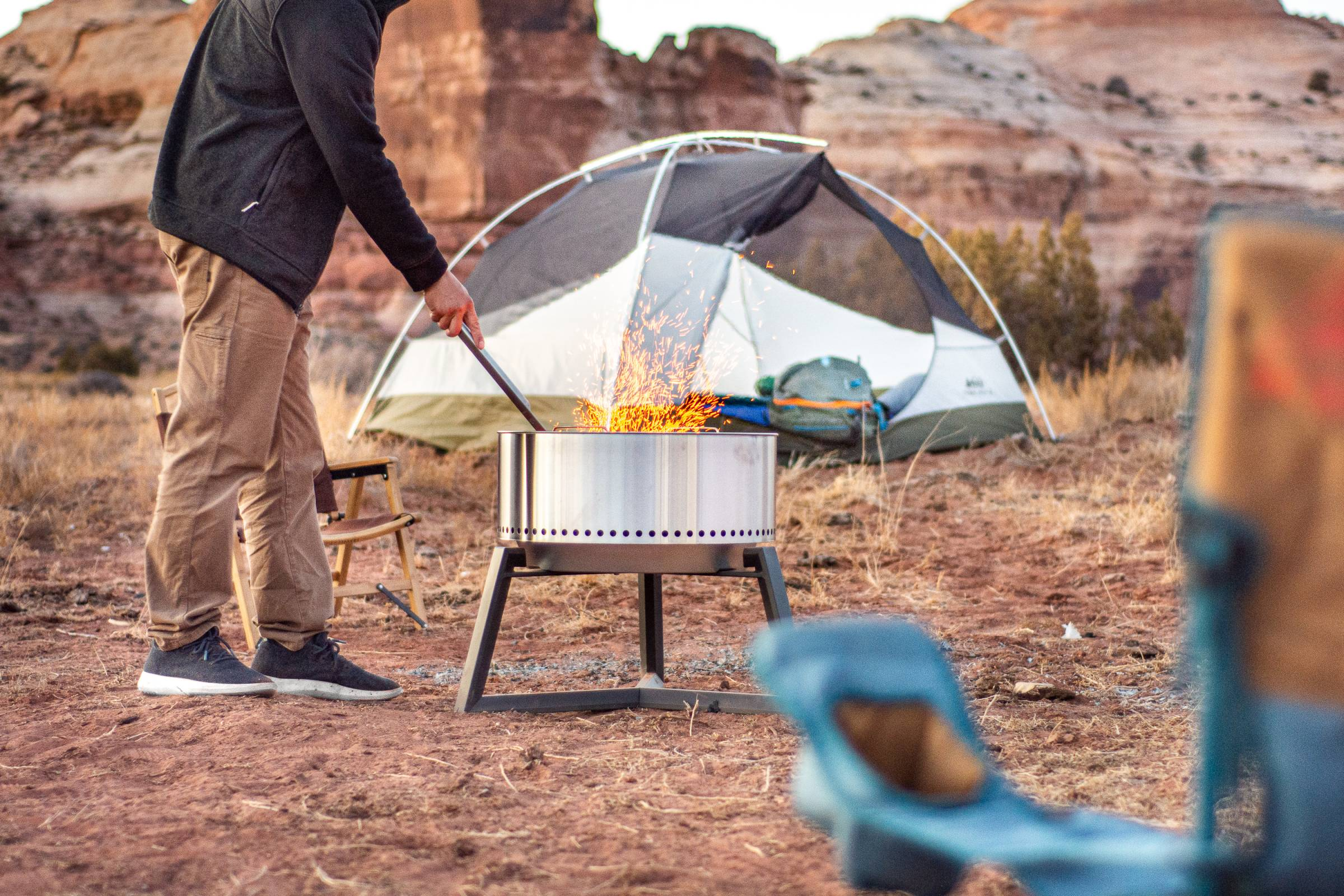 Testing the Solo Stove Grill while camping in Moab.