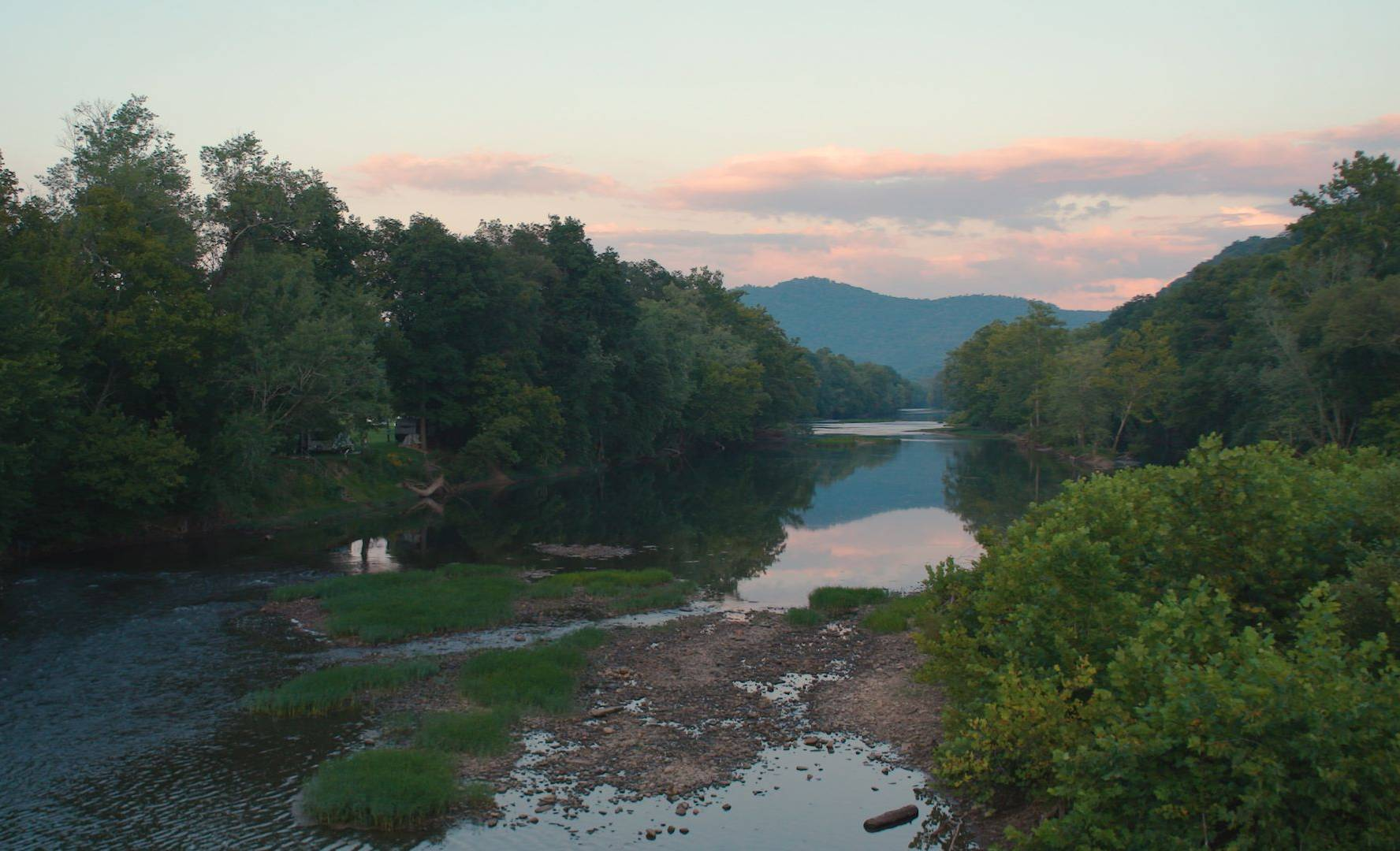 view of the Greenbriar river in WV in late afternoon