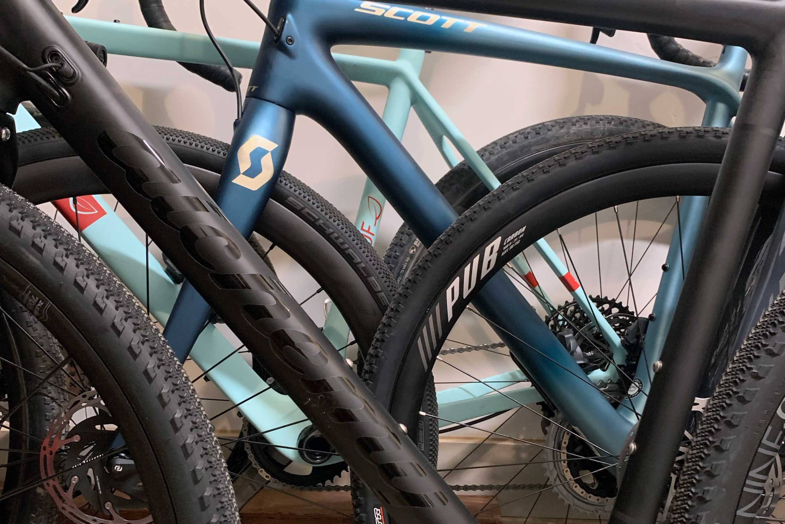 closeup of gravel bike tires