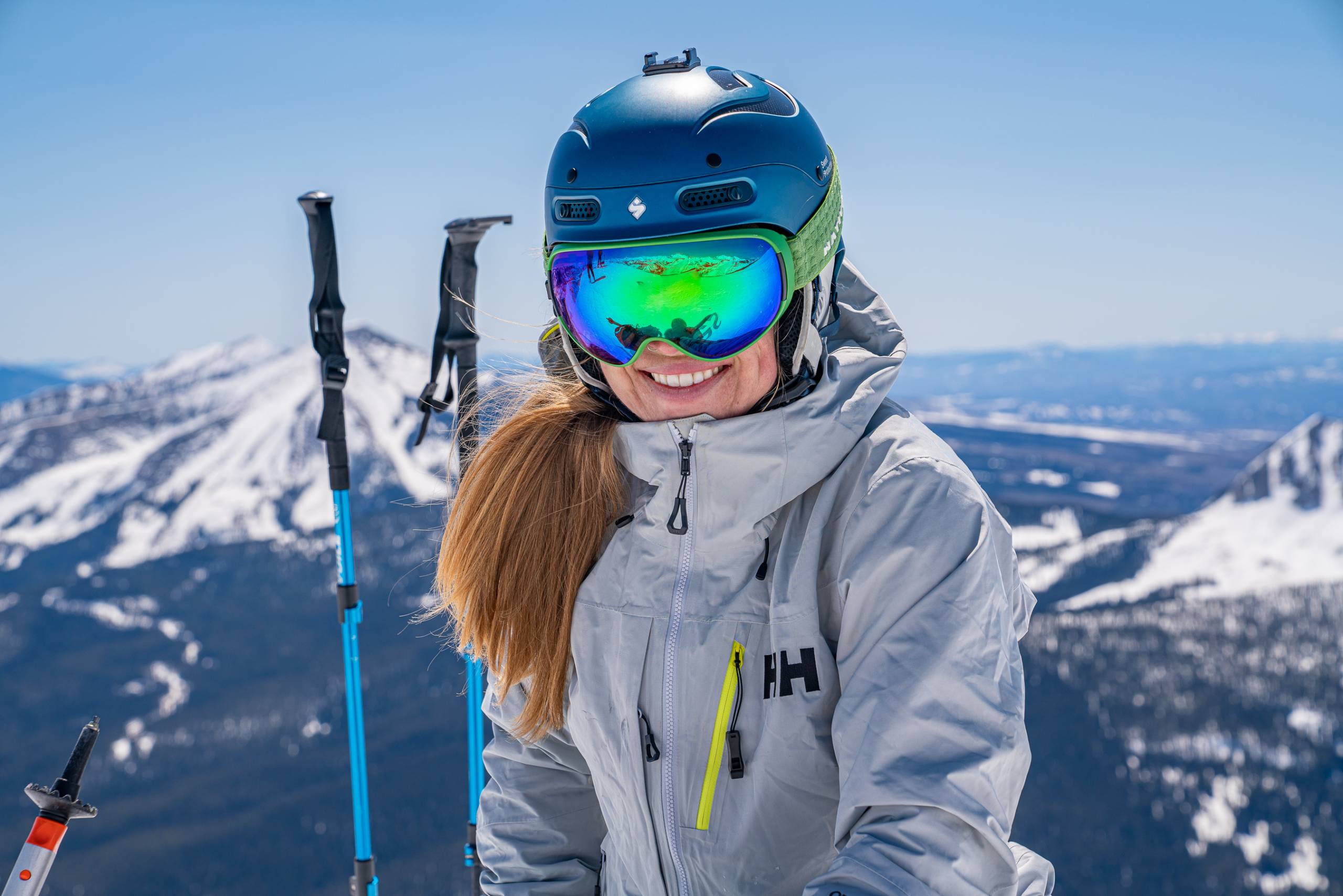 the author in a helmet, goggles, and the new Helly Hansen Pro insulated jacket