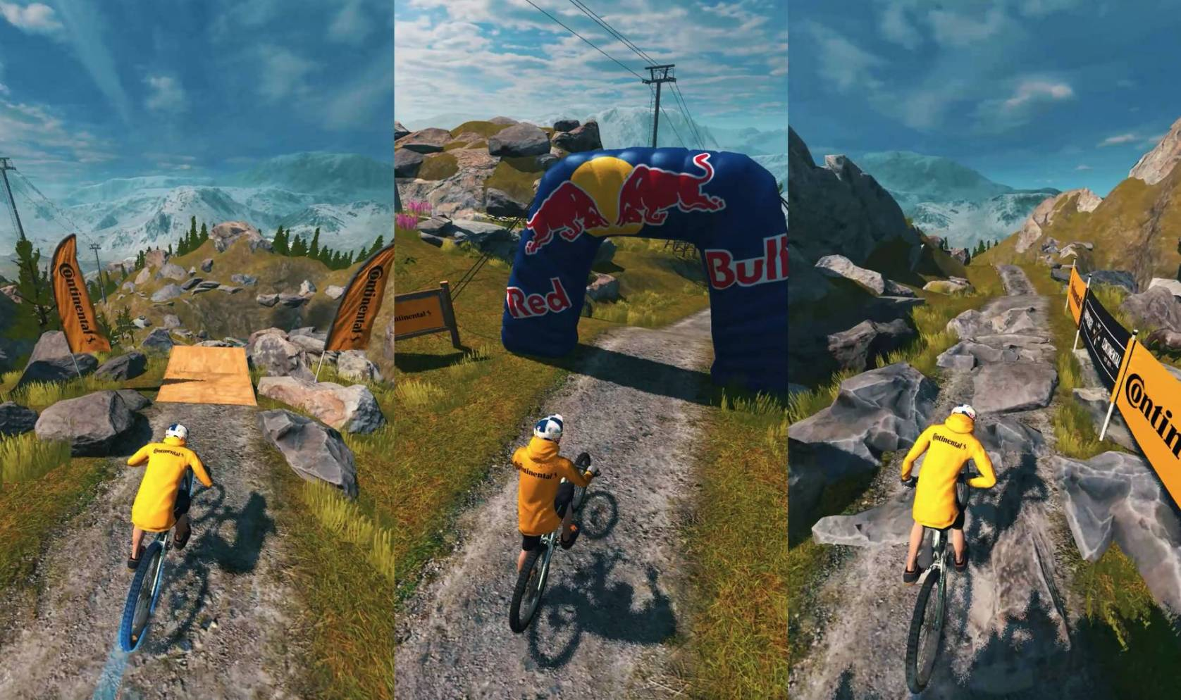 mountain biker on trail course in Red Bull bike app game