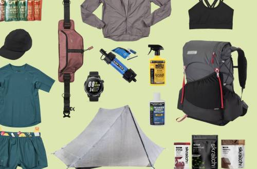 various camping gear, apparel, and nutrition items against green background