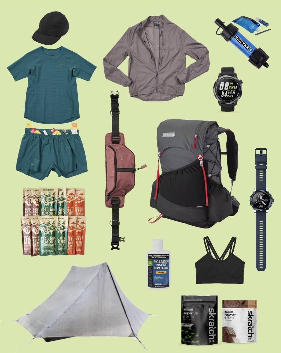 tent, running clothes, backpack, sports water, and water filter kit