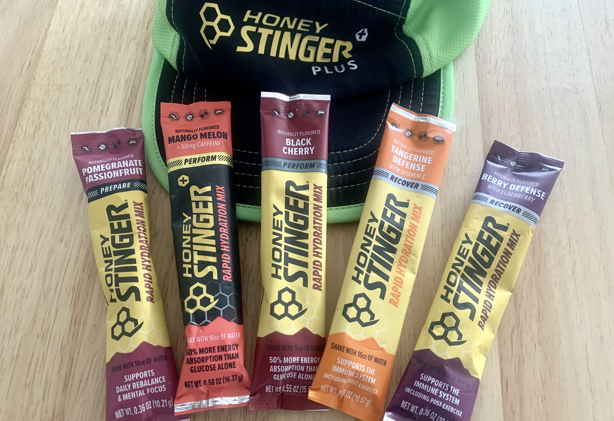 flavor varieties of the honey stinger hydration mixes