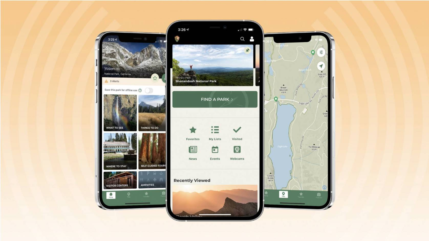 national parks app interface on smartphone screen
