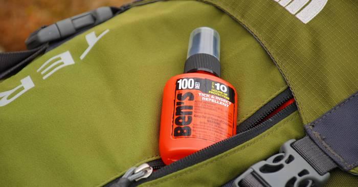 Ben's 100 1.25oz - peaking out of backpack pocket