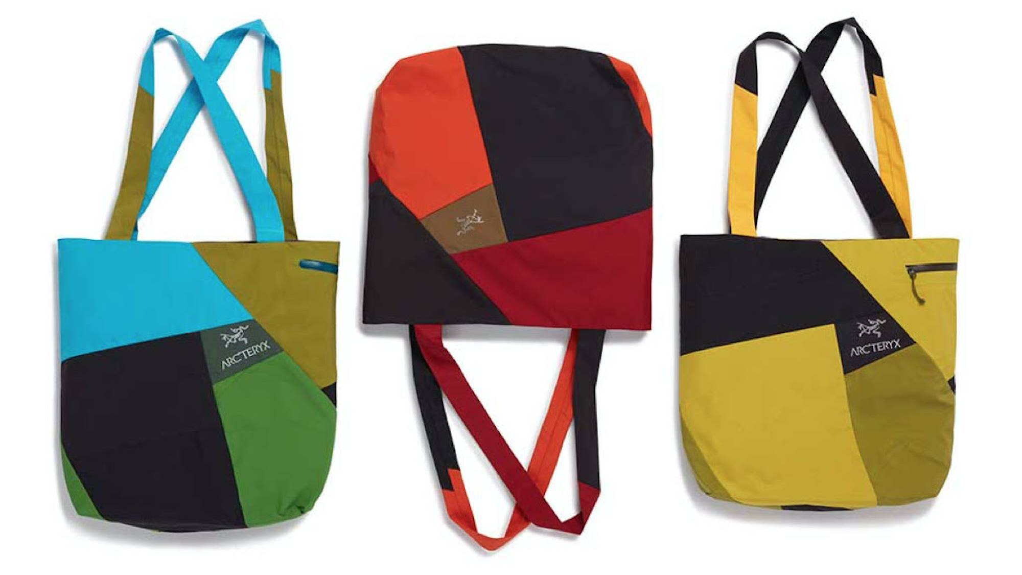 Arc'teryx tote bags made from multi-colored, recycled fabrics