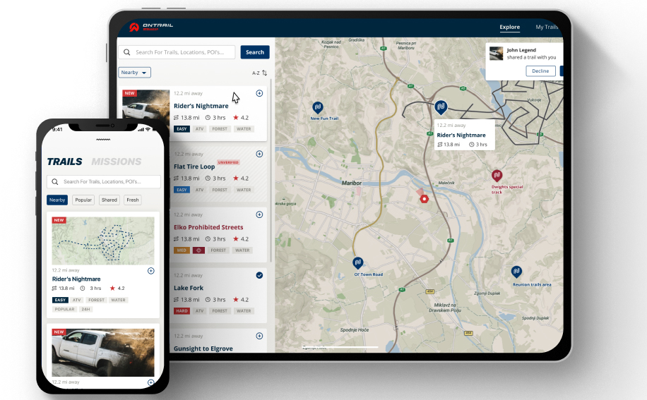 bf goodrich tires app interface with list of trails