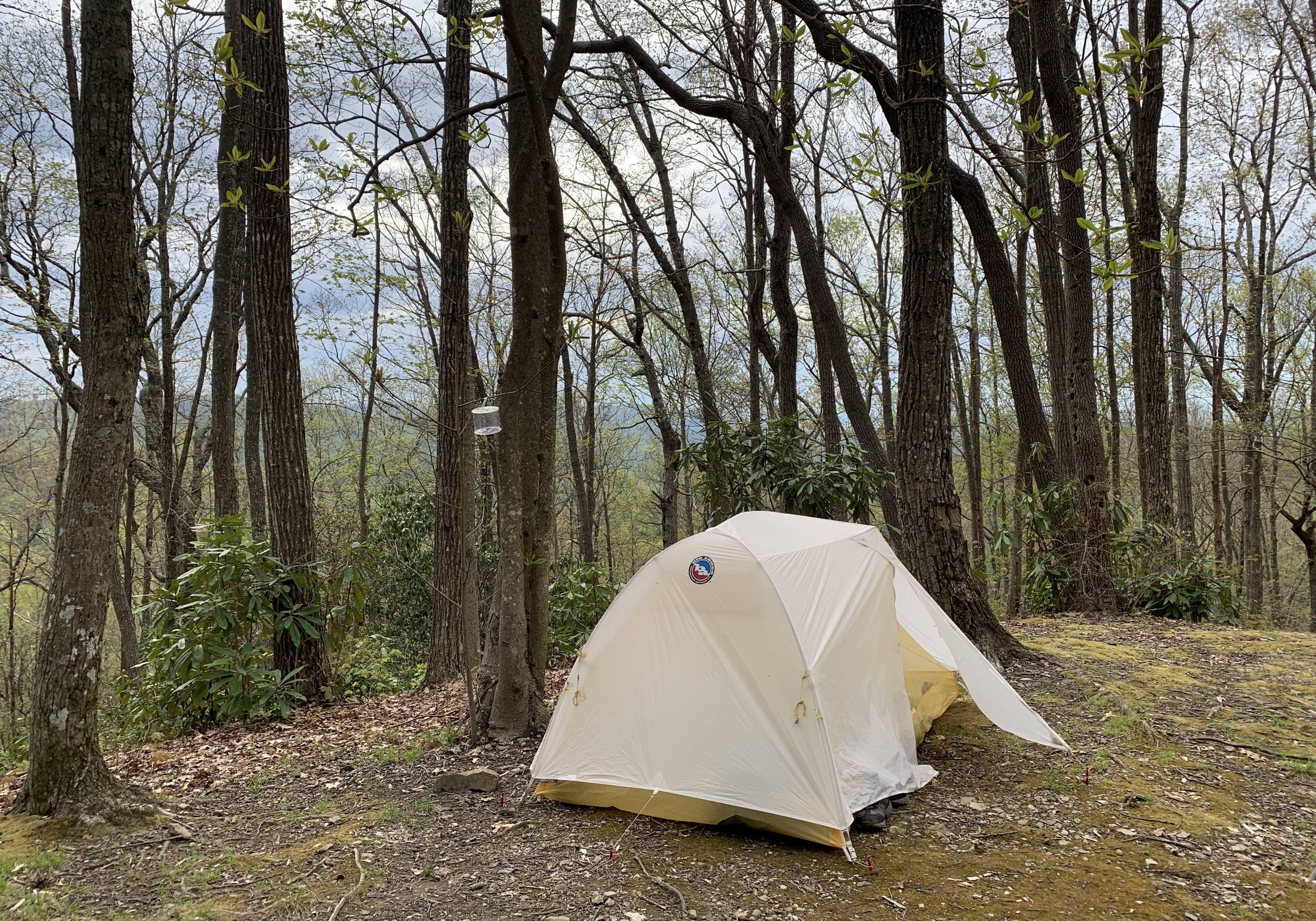 Big Agnes solution stained Tiger Wall UL tent pitched in camp on AT